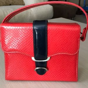 EUC Vintage 60s red and navy purse